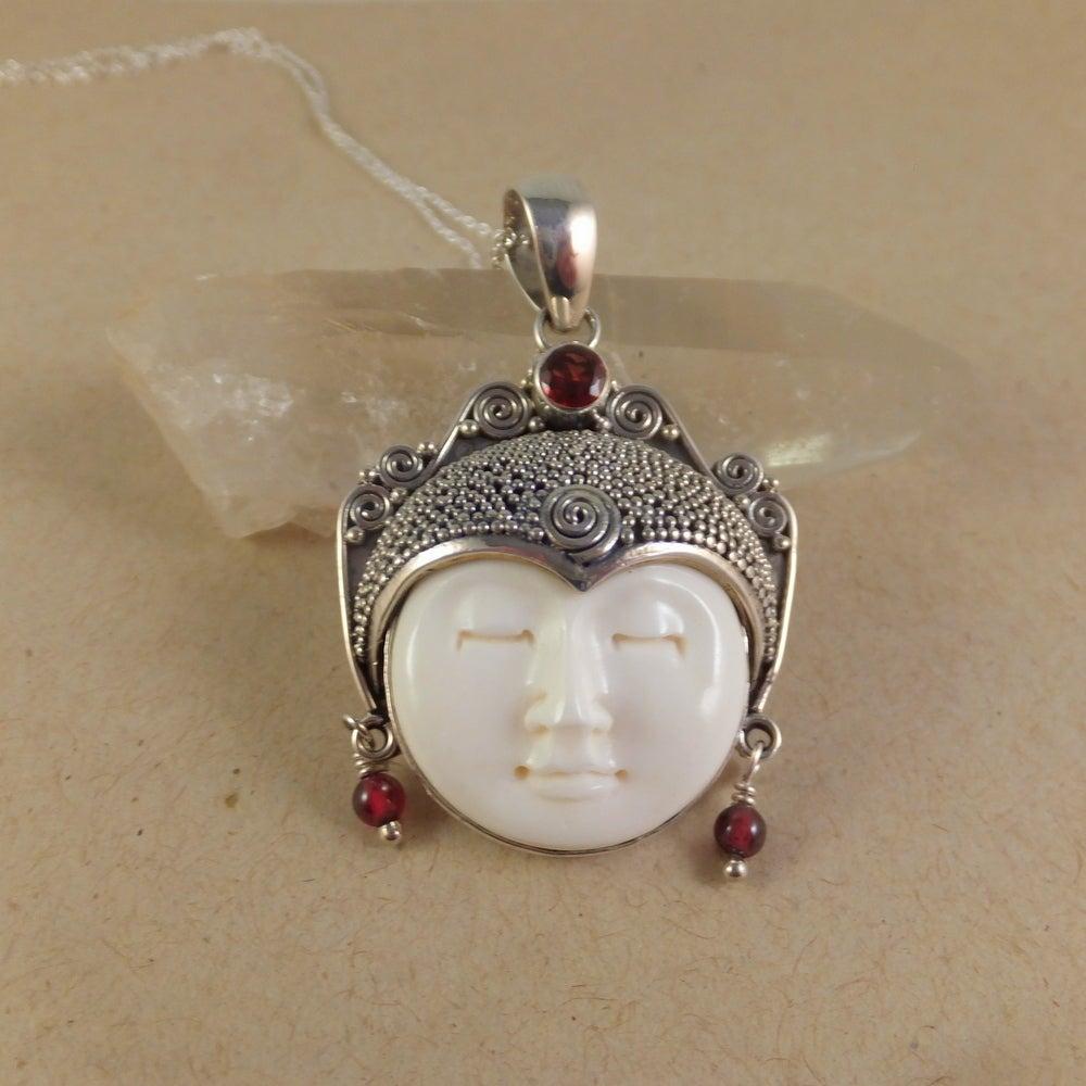 Shop Handmade Carved Bone Moon Face Goddess Necklace Indonesia Overstock 14267979