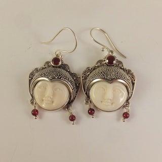 Handmade Carved Bone Moon Face Goddess Earrings (Indonesia)