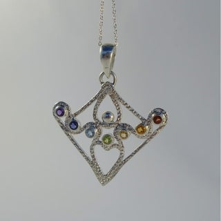 Handmade Small Sterling Silver Chakra Goddess Necklace (Indonesia)