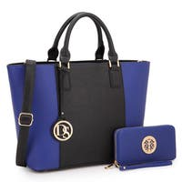 Dasein Multicolor Faux Leather Medium Classic Tote Bag with Matching Wallet