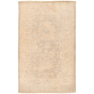 Herat Oriental Afghan Hand-knotted White Wash Oushak Wool Rug (2'1 x 3'5)