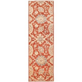 Herat Oriental Afghan Hand-knotted Vegetable Dye Oushak Wool Runner (3'2 x 10'3)