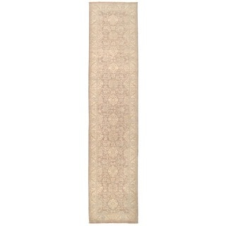 Herat Oriental Afghan Hand-knotted Vegetable Dye Oushak Wool Runner (3'1 x 13'9)