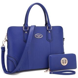 Dasein Slim Briefcase Handbag with Matching Wallet (Option: Royal Blue)