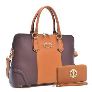 Dasein Slim Briefcase Handbag with Matching Wallet (Option: Orange/Brown)