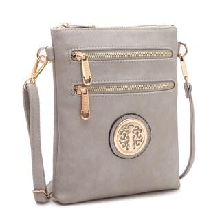 Dasein Soft Two Front Zipper Gold-Tone Messenger Bag