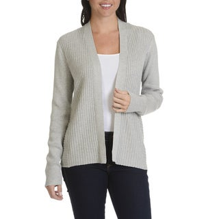 Verve Ami Women's Acrylic Blend Ribbed Open Front Cardigan
