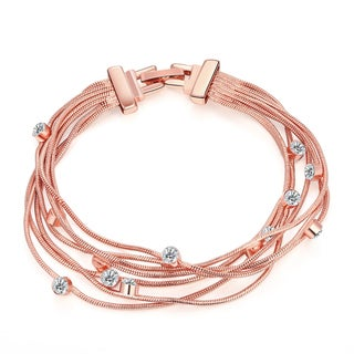 Hakbaho Jewelry Rose Gold Plated Overlay Wrap CZ Bracelet