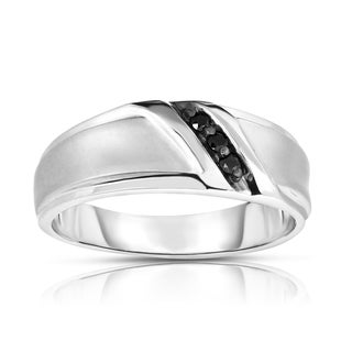 Noray Designs 14k White Gold Men's Black Diamond Accent 3-Stone Ring