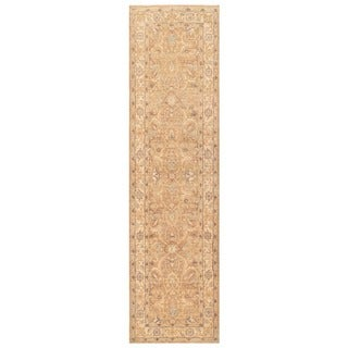 Herat Oriental Afghan Hand-knotted White Wash Oushak Wool Runner (2'7 x 9'10)
