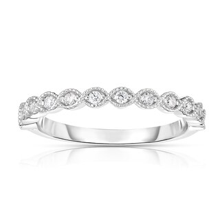 Noray Designs 14k Gold Diamond 1/5ct TDW White Diamond Stackable Miligrain Ring