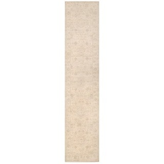 Herat Oriental Afghan Hand-knotted White Wash Oushak Wool Runner (2'5 x 11'7)