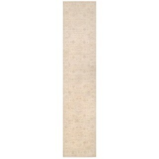 Herat Oriental Afghan Hand-knotted White Wash Oushak Wool Runner (2'5 x 11'7) - 2'5 x 11'7