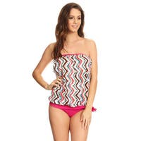Famous Maker Women's Multicolored Nylon Two-Piece Bandeau Blouson Tie Tankini