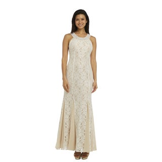 R&M Richards Women's Ivory Lace Long Dress