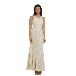 R&M Richards Women's Ivory Lace Long Dress