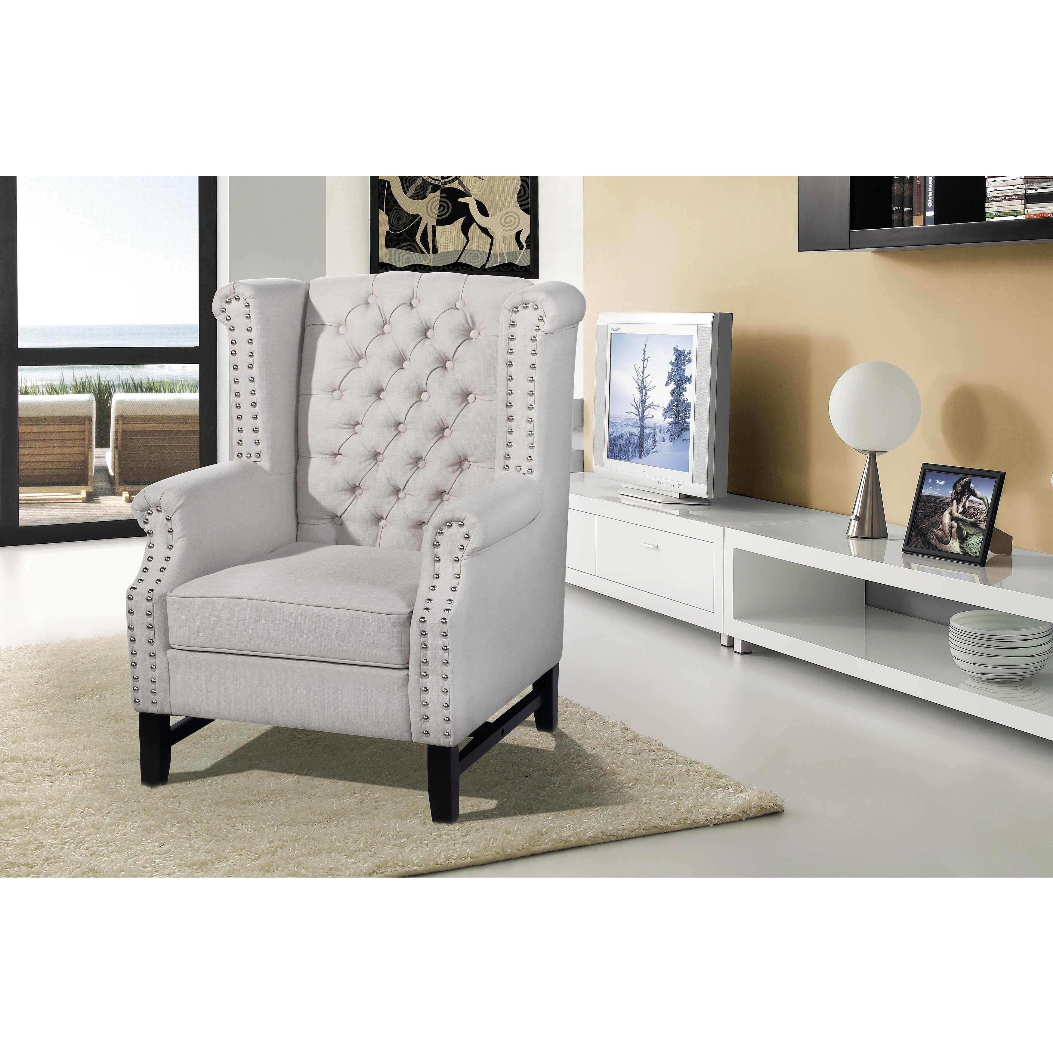 Best Master Furniture Taupe Fabric Arm Chair (Accent Arm ...