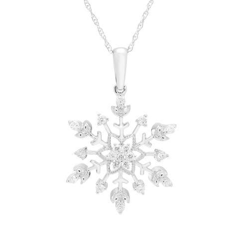 Boston Bay Diamonds 10K White Gold 1/4ct TDW Diamond Snowflake Pendant w/ Chain
