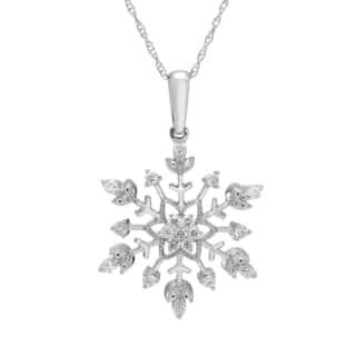 Boston Bay Diamonds 10K White Gold 1/4ct TDW Diamond Snowflake Pendant w/ Chain|https://ak1.ostkcdn.com/images/products/14268883/P20855567.jpg?impolicy=medium