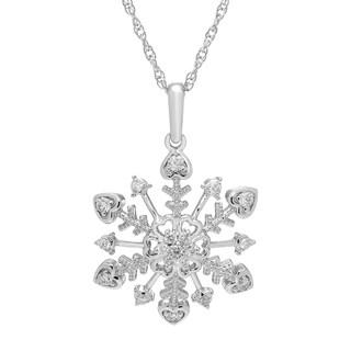 Boston Bay Diamonds 925 Sterling Silver 1/4ct TDW Diamond Snowflake Pendant w/ Chain - White