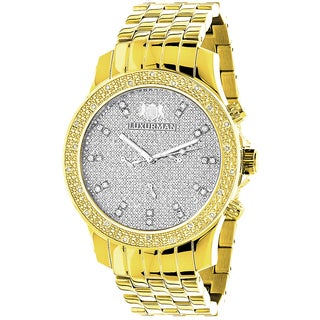 Luxurman 18k Two-Tone Goldplated Men's Diamond Raptor Watch