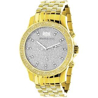 Luxurman Two-Tone Goldplated Men's Diamond Raptor Watch