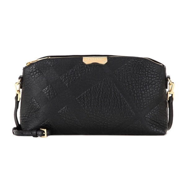 19fd476760d8 Shop Burberry Chichester Black Leather Check Crossbody Bag - Free ...
