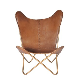 Pine Canopy Midewin Chestnut Leather Butterfly Chair