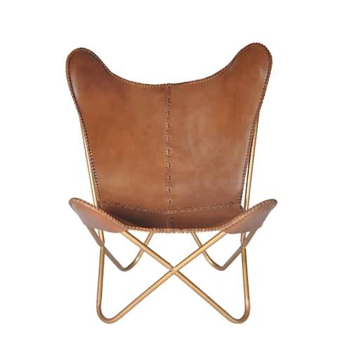 Carbon Loft Larkin Chestnut Leather Butterfly Chair