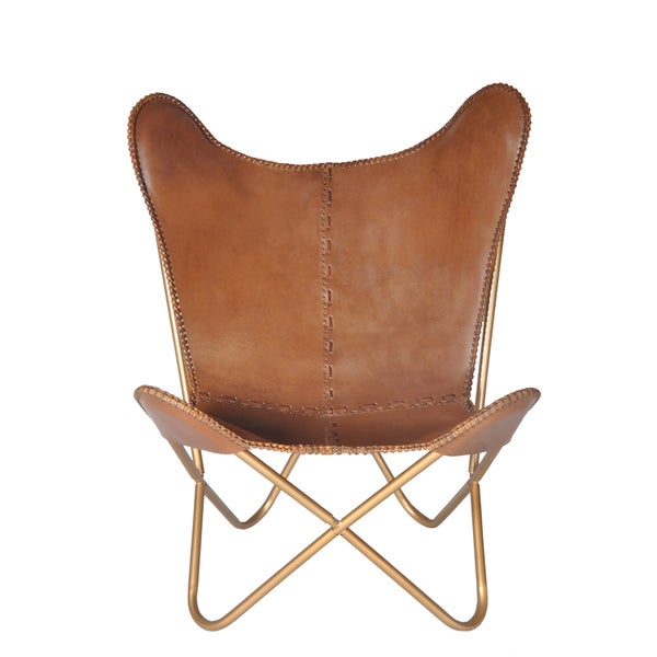 Carbon Loft Larkin Chestnut Leather Butterfly Chair
