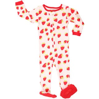 Elowel Baby Girl's Pink Strawberry Cotton Pajama Sleeper