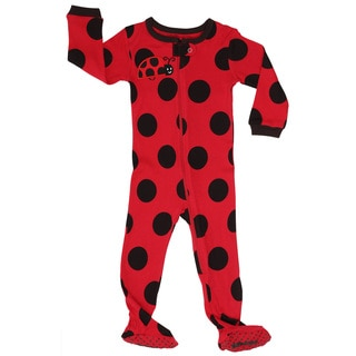 Elowel Girls' Polka Dot Red and Black Cotton Pajama Sleeper