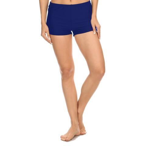 Famous Maker Women's Solid Navy Boyshorts Style Swimsuit Bottoms