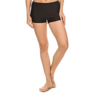 08f117d221ccb Shop Famous Maker Black Nylon Spandex Boyshort-style Swimsuit ...