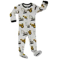 Elowel Boys' Bulldozer Grey Cotton Pajama Sleeper