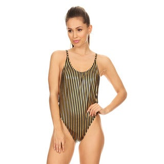 Dippin' Daisy's Women's Black/Gold Striped High-Cut Vintage One Piece