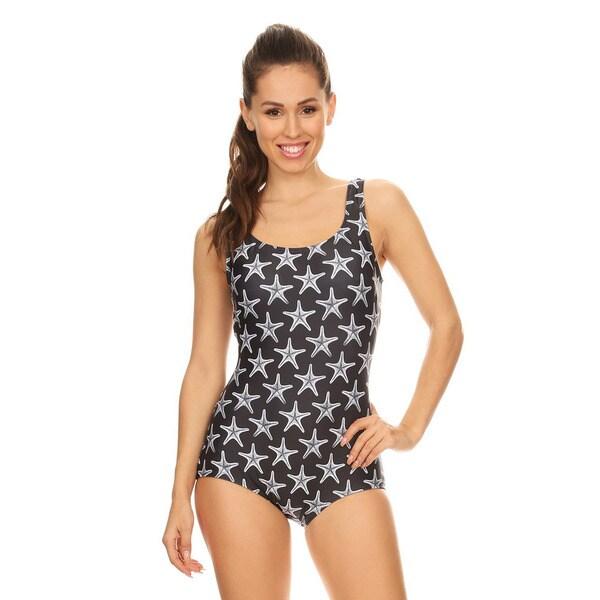 Famous Maker Women's Missy Black Sea Star Boycut One-piece Swimsuit