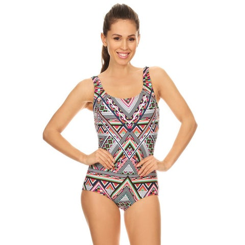 Famous Maker Women's Missy Multicolored Geometric Missy Boycut 1-piece Swimsuit
