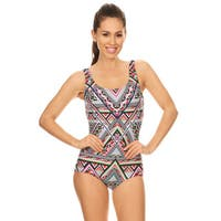 Famous Maker Women's Missy Multicolored Geometric Missy Boycut 1-piece Swimsuit