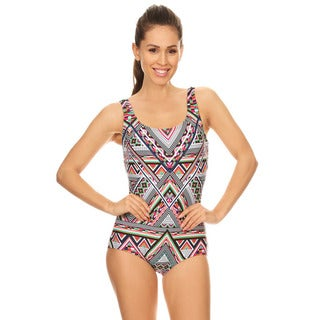 Famous Maker Women\u0027s Missy Multicolored Geometric Missy Boycut 1-piece  Swimsuit