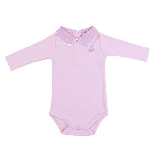 Briobebe Girls' Pink Cotton Peter Pan Collar Bodysuit