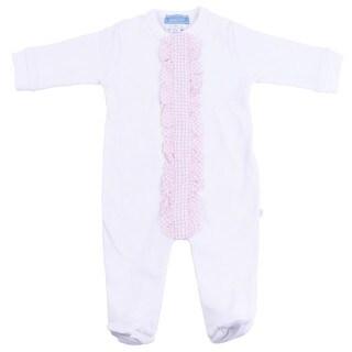 Briobebe Girl's White/ Pink Ruffle Trim Jumpsuit