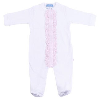 Briobebe Girl's White/ Pink Ruffle Trim Jumpsuit (4 options available)