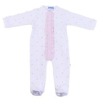 Briobebe Girls' Cotton Bee Print Ruffle Jumpsuit