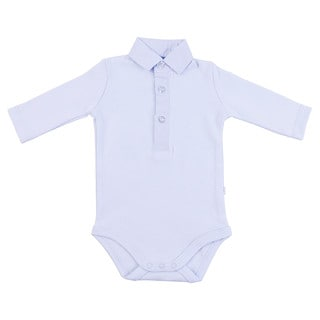 Briobebe Blue Cotton Check Print Collar Bodysuit