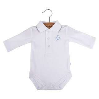 Briobebe Boys' White Cotton Pique Knit Bodysuit