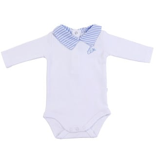 Briobebe Boys' Cotton Striped Collar Bodysuit