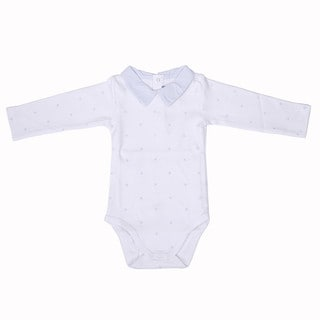 Briobebe Boys' White Cotton Bee Print Bodysuit