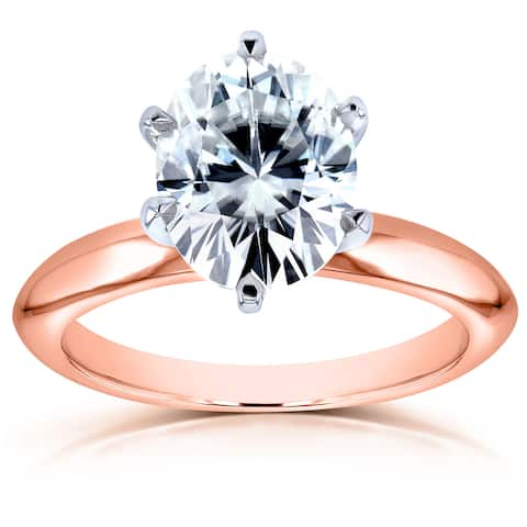 Annello by Kobelli Rose Gold Oval 2 1/10ct Moissanite Solitaire Engagement Ring