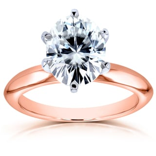 Annello 14k Rose Gold Oval 2 1/10ct Moissanite Solitaire Engagement Ring